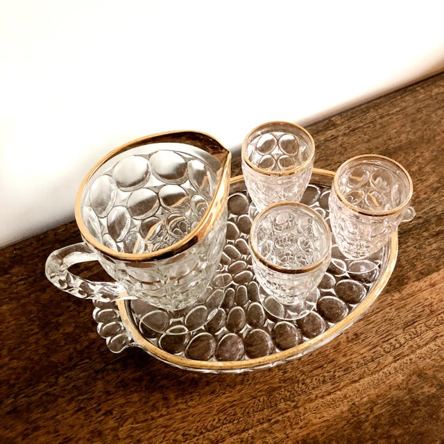 1920s Pressed Glass Cocktail Set For Sale - Image 4 of 5