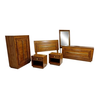 6 Piece Bedroom Set by Lane Altivista, Mid Century Modern, Brass Accents For Sale
