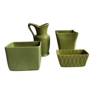 Mid 20th Century Green Pottery Collection - Set of 4 For Sale