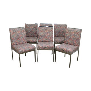 Milo Baughman Mid Century Modern Set of 6 Chrome Parsons Dining Chairs For Sale