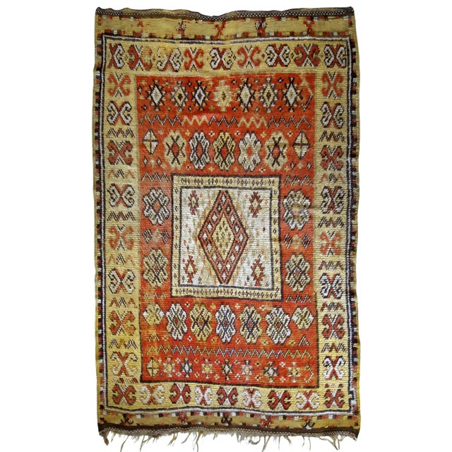 1900s Handmade Antique Moroccan Berber Rug 4' X 7.6' For Sale