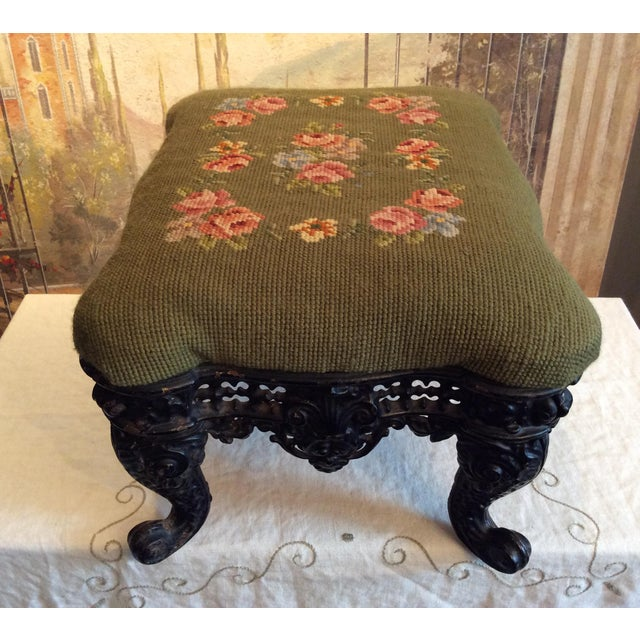 1930s Vintage Victorian Cast Iron Needlepoint Footstool For Sale - Image 4 of 12