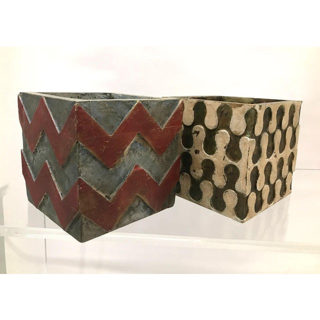 Mid-Century Modern Vintage Handmade Wood Planters — a Pair For Sale - Image 3 of 13