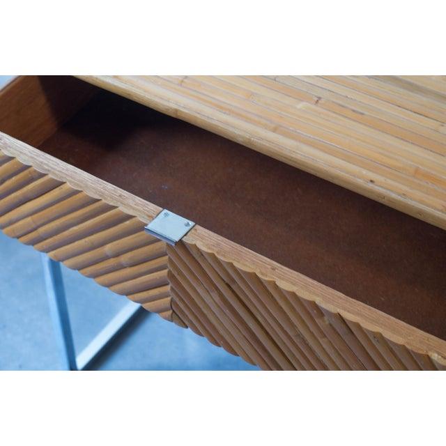 Milo Baughman Split Bamboo Rattan Nightstand Table - Image 6 of 7