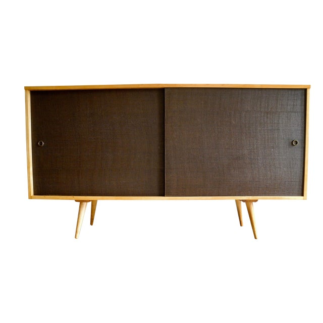 20th Century Modern Maple Storage Credenza / Sideboard With Shelf and Drawers by Paul McCobb For Sale