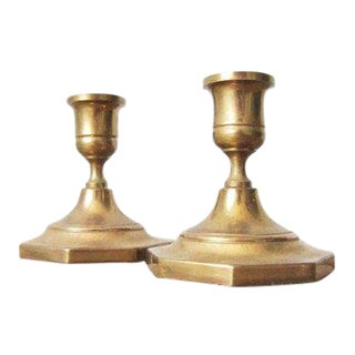 1950s Hollywood Regency Brass Candle Holders - a Pair