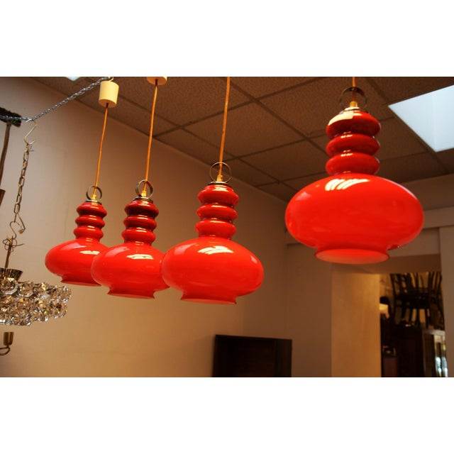 Mid-Century Modern Midcentury hanging lamp made of glass & steel For Sale - Image 3 of 11
