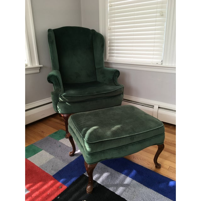 Green Velvet Wingback Chair & Ottoman - Image 2 of 8
