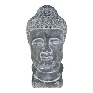 Overscale Ceramic Buddah Head Sculpture Statue For Sale