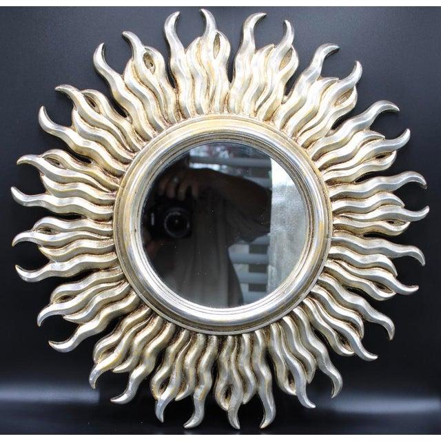 Mid-Century Silver Italian Sunburst Mirror For Sale - Image 6 of 6