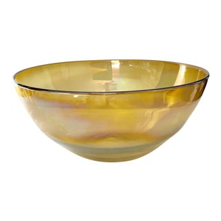 """12"""" Yellow Opalescent Finish Glass Center Piece Bowl For Sale"""