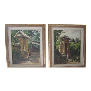 "Bali ""In the Morning"" & ""At Dusk"" Oil Paintings - A Pair For Sale"
