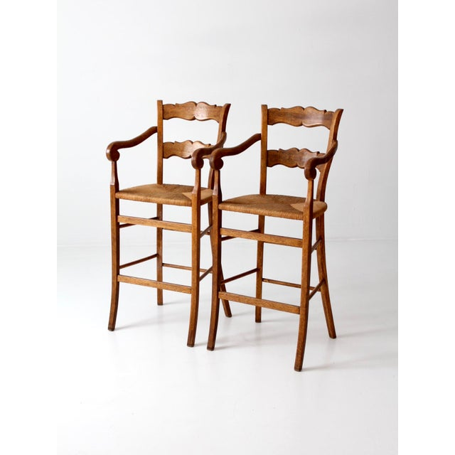 Vintage High Back Bar Arm Stools - A Pair - Image 3 of 7