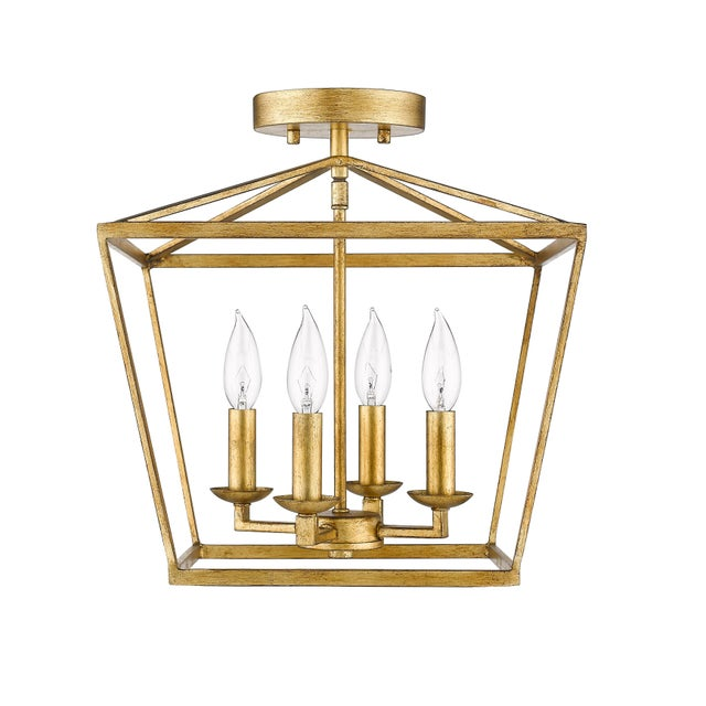2010s Ponce City 4 Light Semi-Flush Pendant, Gilded Gold or Pendant For Sale - Image 5 of 7