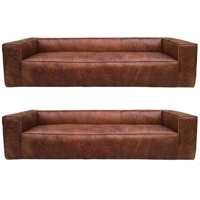 Fabulous Two 9 Ft Contemporary Distressed Leather Sofas Spiritservingveterans Wood Chair Design Ideas Spiritservingveteransorg