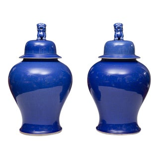 Pair of Large Blue Lidded Urns For Sale