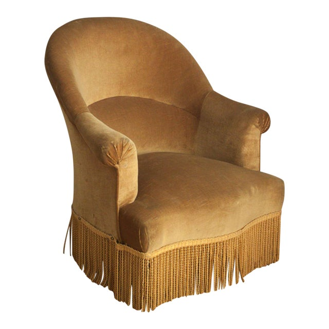 Velvet Crapaud Chair For Sale