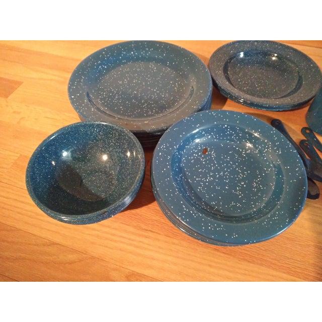 Vintage Blue Granitewear Enamelware Dishes For Sale - Image 4 of 5