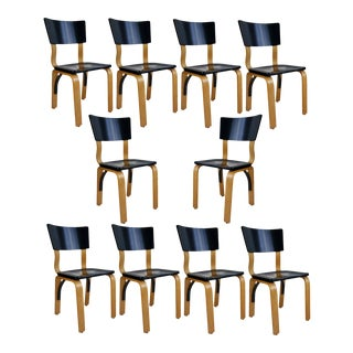 1940s Thonet Bentwood Lacquered Dining Chairs - Set of 10 For Sale