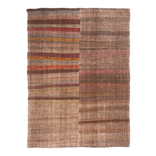 Vintage Mid-Century Striped Wool Kilim Rug - 7′ × 9′5″ For Sale