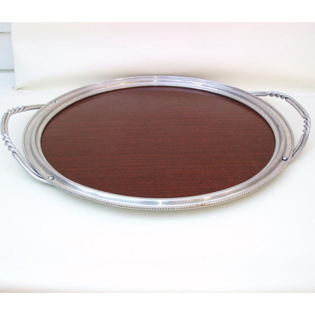 Aluminum & Faux Wood Bar Tray Serving Platter - Image 4 of 7