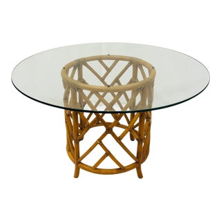Vintage Chinese Chippendale Style Rattan & Glass Top Table For Sale