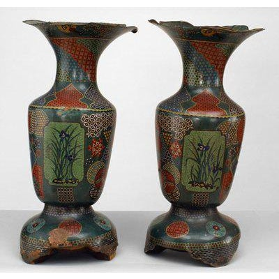 Pair of Asian Chinese style green and decorated cloissone and enamel vases with scalloped and flair top (as is) (19/20th...
