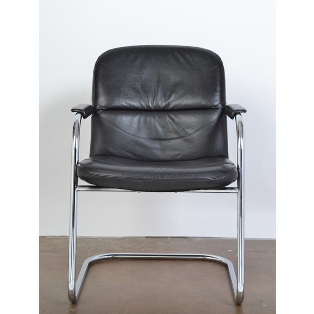 Mid-Century Leather & Chrome Armchairs - A Pair - Image 4 of 10