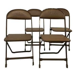 Vintage Brown Metal Folding Chairs - Set of 4 For Sale