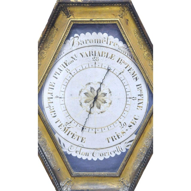 French 18th Century French Louis XVI Carved Gold Leaf Hexagonal Barometer For Sale - Image 3 of 7