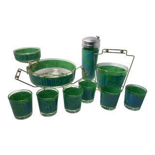 Mid-Century Psychedelic Green and Blue Barware Set For Sale