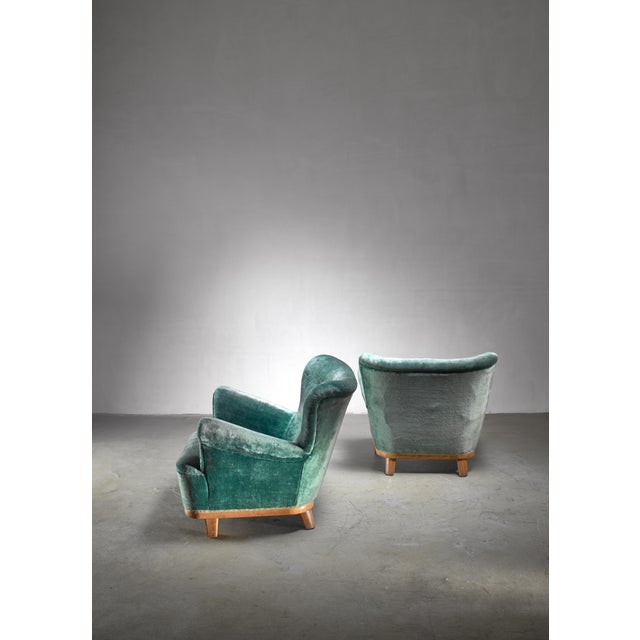 Mid-Century Modern Pair of Swedish Easy Chairs, 1940s For Sale - Image 3 of 5