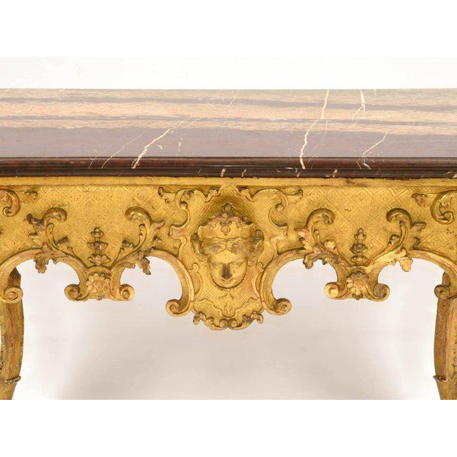 Luxury Regency Console, Louis XV in Gilded Wood and Red Marble | DECASO