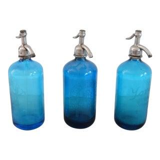 Vintage Glass Seltzer Bottles – Set of 3 For Sale