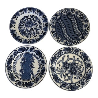 """Asian Style Blue & White MIX Design Set of 4 Plates 7""""d For Sale"""