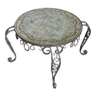 Painted Iron Coffee Table With Reverse Painted Glass For Sale