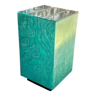 Vintage Faux Painted Malachite Pedestal For Sale