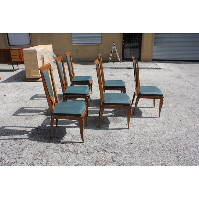 1940s French Art Deco Solid Mahogany Dining Chairs by Jules Leleu - Set of 6 For Sale In Miami - Image 6 of 13