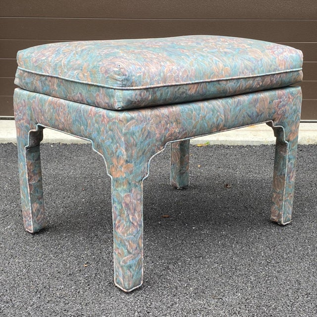 1980s Fully Upholstered Floral Bench For Sale - Image 4 of 13