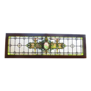 Early 20th Century Stained Glass Transom Window For Sale