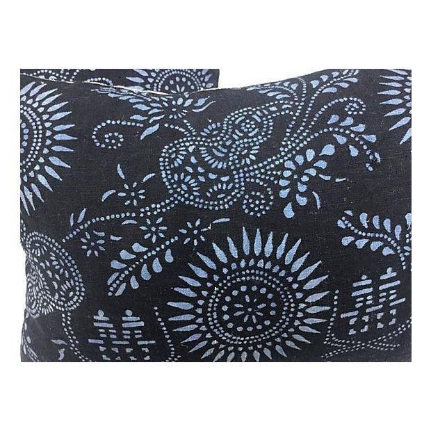 Black & Blue Indigo Batik Pillows - Pair - Image 3 of 5
