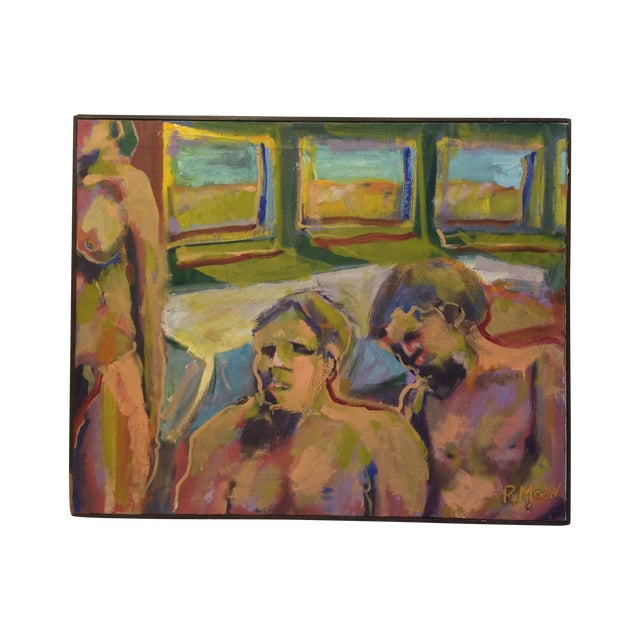 """""""One and Two,"""" Oil Painting Circa 1966 - Image 1 of 7"""
