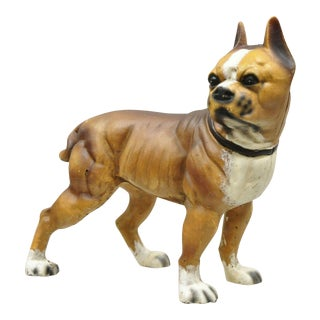 Antique Cast Iron Brown Painted Bulldog Boxer Dog Doorstop For Sale