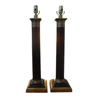 1960s Vintage Neoclassical Style Corinthian Column Lamps - a Pair For Sale