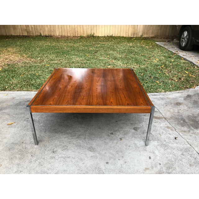 Knoll Rosewood & Chrome Coffee Table - Image 8 of 8