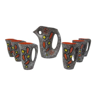 Le Vaucour Vallauris French Ceramic Pitcher & 6 Cups
