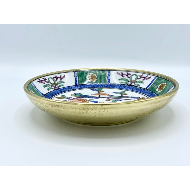 Blue 1950s Japanese Emerald Green and Blue Brass Cased Bowl with Birds For Sale - Image 8 of 11