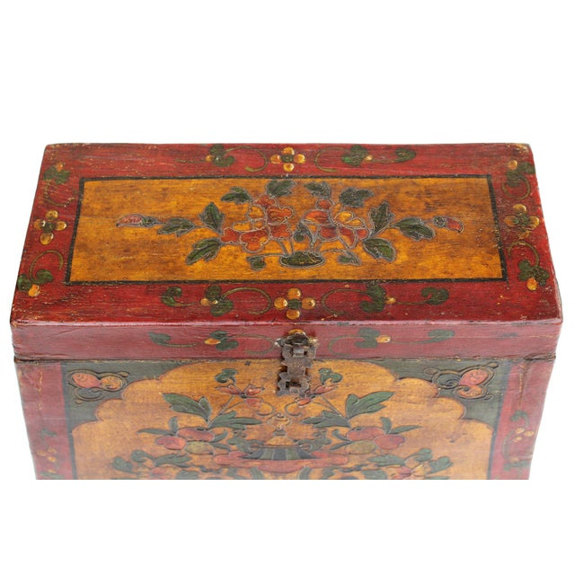 Chinese Tibetan Red Yellow Floral Graphic Trunk Box Table For Sale In San Francisco - Image 6 of 9