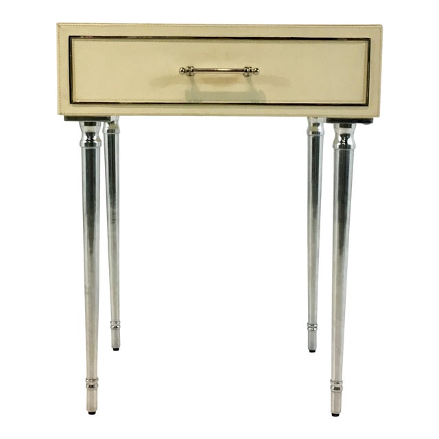 Bungalow 5 Modern Ivory Leather Jolene One Drawers Side Table For Sale