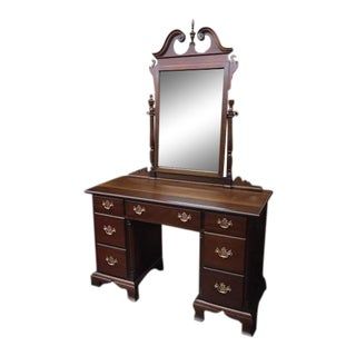 1960s Kling Furniture Mahogany Vanity With Mirror For Sale